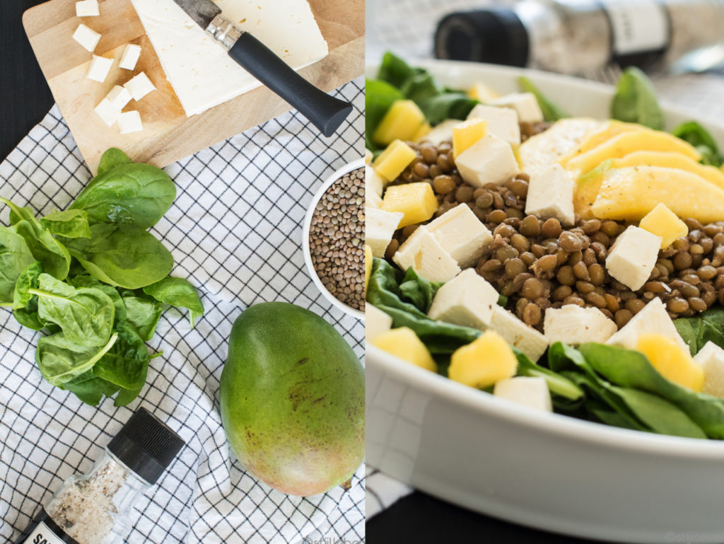 Sommer, Sonne, Salat - Lauwarmer Spinatsalat mit Linsen, Mango und Feta_V