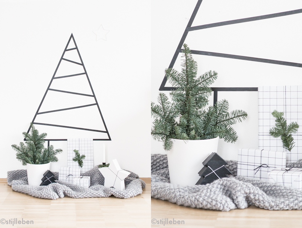 liebling ich habe den weihnachtsbaum an die wand geklebt ein weihnachtsbaum diy und. Black Bedroom Furniture Sets. Home Design Ideas